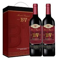 PLUS会员 : 璞立酒庄 法国原瓶原装进口红酒 璞立酒庄 BV红酒 波尔多混酿红葡萄酒750ml*2 双支礼盒装